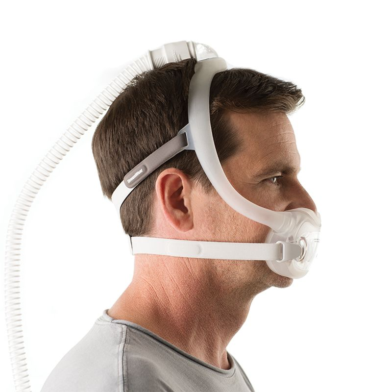 White male wearing a full face CPAP mask named DreamWear Full Face Mask.