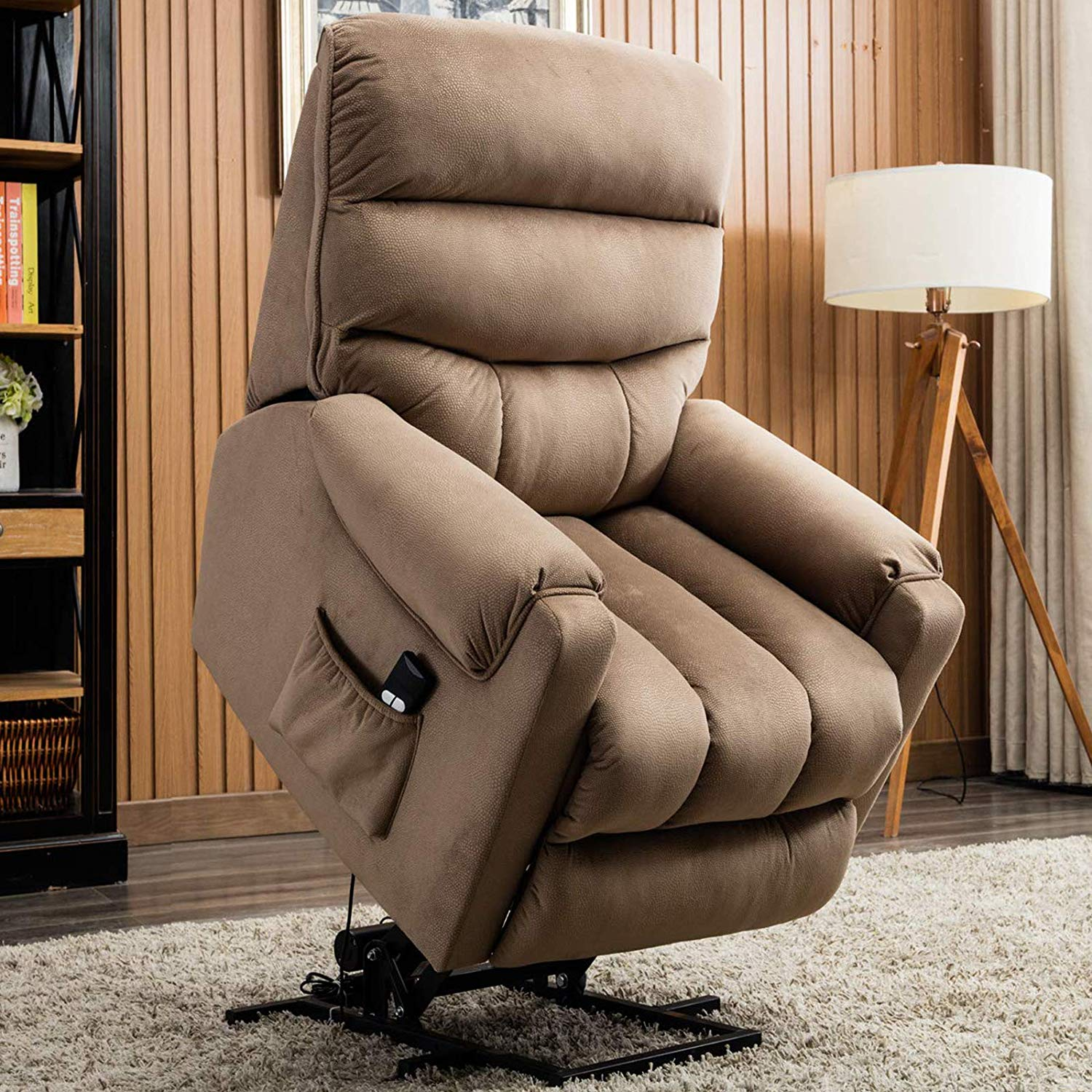 A brown lift chair in the full upright position.